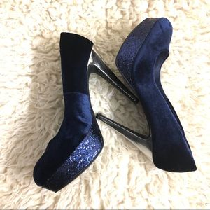 Guess royal blue velvet glitter heels